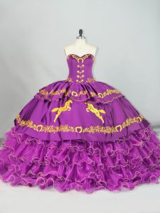 Low Price Purple Ball Gowns Sweetheart Sleeveless Satin and Organza Brush Train Lace Up Embroidery and Ruffles Quinceanera Gowns
