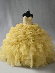 Yellow Lace Up Quince Ball Gowns Beading and Ruffles Sleeveless Floor Length
