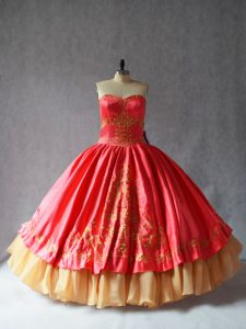 Lovely Sleeveless Satin and Organza Floor Length Lace Up Quinceanera Gown in Coral Red with Embroidery