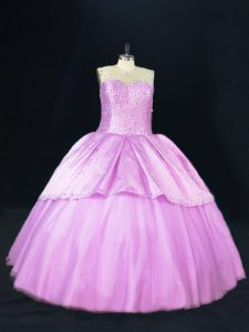 Deluxe Sleeveless Lace Up Floor Length Beading 15th Birthday Dress
