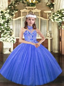 Great Blue Sleeveless Tulle Lace Up Little Girls Pageant Dress Wholesale for Party and Sweet 16 and Wedding Party