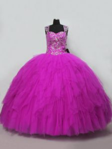 On Sale Floor Length Fuchsia 15 Quinceanera Dress Tulle Sleeveless Beading and Ruffles