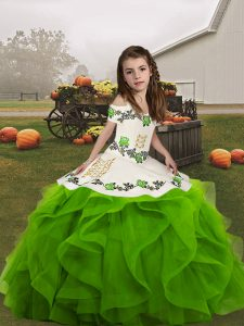 Straps Sleeveless Lace Up Little Girl Pageant Dress Green Organza