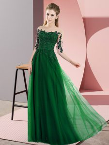 Simple Floor Length Dark Green Damas Dress Chiffon Half Sleeves Beading and Lace