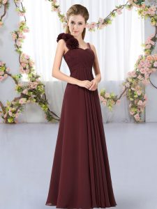 Straps Sleeveless Dama Dress for Quinceanera Floor Length Hand Made Flower Brown Chiffon