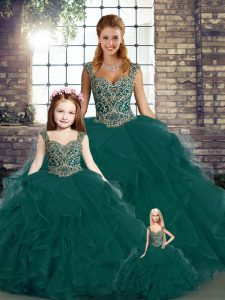 Pretty Peacock Green Lace Up Quinceanera Gown Beading and Ruffles Sleeveless Floor Length