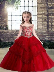 Red Ball Gowns Tulle Off The Shoulder Sleeveless Lace and Appliques Floor Length Lace Up Kids Formal Wear