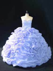 Enchanting Sweetheart Sleeveless Quinceanera Gowns Court Train Embroidery and Pick Ups and Hand Made Flower Lavender Organza