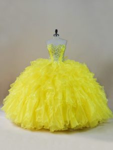 Fantastic Sleeveless Beading and Ruffles Lace Up Quinceanera Dress