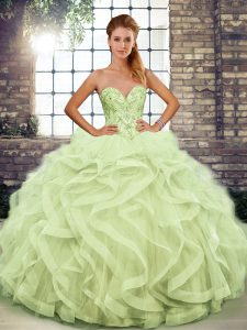 Floor Length Yellow Green Quinceanera Gowns Sweetheart Sleeveless Lace Up