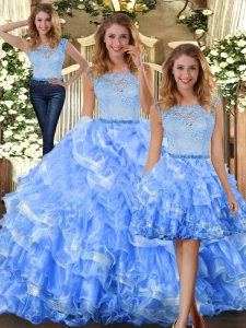Fashionable Floor Length Light Blue Ball Gown Prom Dress Organza Sleeveless Lace and Ruffled Layers