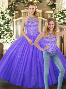 Lavender Lace Up Sweet 16 Quinceanera Dress Beading Sleeveless Floor Length