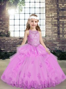 Lilac Lace Up Little Girls Pageant Dress Wholesale Lace and Appliques Sleeveless Floor Length