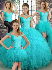 Graceful Aqua Blue Tulle Lace Up Off The Shoulder Sleeveless Floor Length 15th Birthday Dress Beading and Ruffles