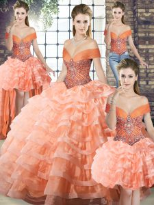 Graceful Peach Ball Gown Prom Dress Organza Brush Train Sleeveless Beading and Ruffled Layers