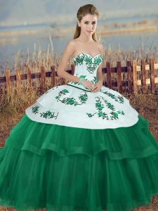 Green Ball Gowns Tulle Sweetheart Sleeveless Embroidery and Bowknot Floor Length Lace Up Quinceanera Gown