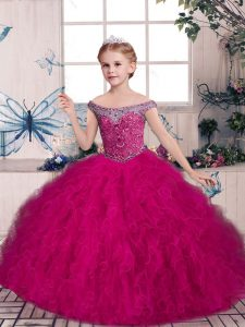 Fashion Fuchsia Ball Gowns Tulle Off The Shoulder Sleeveless Beading and Ruffles Floor Length Lace Up Kids Pageant Dress