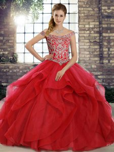Sleeveless Beading and Ruffles Lace Up Sweet 16 Dresses with Red Brush Train