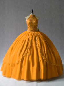 Sweet Orange Ball Gowns Halter Top Tulle Lace Up Beading Sweet 16 Dress