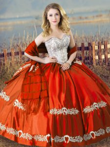 Orange Red Satin Lace Up Vestidos de Quinceanera Sleeveless Floor Length Beading and Embroidery