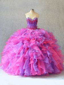 Organza Sweetheart Sleeveless Lace Up Beading and Ruffles Quinceanera Dress in Multi-color