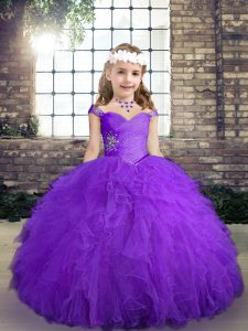 Hot Sale Floor Length Ball Gowns Sleeveless Purple Little Girls Pageant Dress Lace Up
