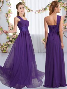 Charming Purple One Shoulder Lace Up Ruching Quinceanera Court of Honor Dress Sleeveless
