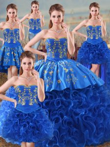 Floor Length Ball Gowns Sleeveless Royal Blue 15 Quinceanera Dress Lace Up