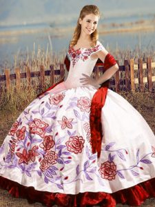 Satin Sleeveless Floor Length 15 Quinceanera Dress and Embroidery and Ruffles