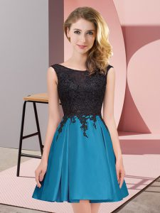Lovely Teal Quinceanera Court Dresses Wedding Party with Lace Scoop Sleeveless Zipper