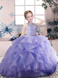 Beading and Ruffles Kids Pageant Dress Lavender Zipper Sleeveless Floor Length