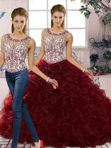 Customized Burgundy Scoop Lace Up Beading and Ruffles Quince Ball Gowns Sleeveless