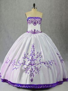 Flare White And Purple Sleeveless Satin Lace Up 15 Quinceanera Dress for Sweet 16 and Quinceanera