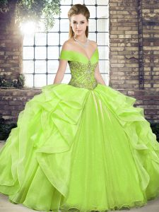 Yellow Green Ball Gowns Beading and Ruffles 15 Quinceanera Dress Lace Up Organza Sleeveless Floor Length