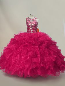 High Class Sleeveless Floor Length Ruffles and Sequins Lace Up Quinceanera Dresses with Hot Pink