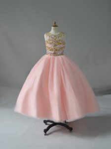Pink Scoop Backless Beading Kids Formal Wear Sleeveless