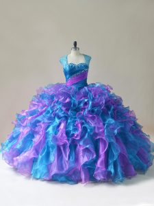 On Sale Multi-color Party Dress Sweet 16 and Quinceanera with Beading and Ruffles Straps Sleeveless Zipper