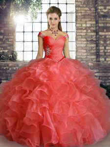 Beading and Ruffles 15 Quinceanera Dress Watermelon Red Lace Up Sleeveless Floor Length