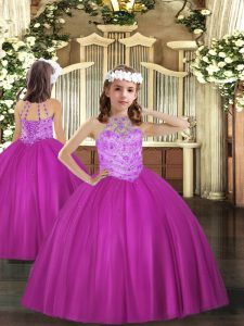 Fuchsia Halter Top Neckline Beading Pageant Gowns For Girls Sleeveless Lace Up