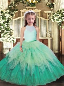 Classical Multi-color Sleeveless Floor Length Ruffles Backless Little Girls Pageant Dress