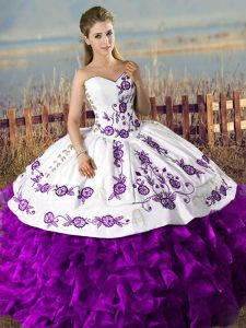 Simple Floor Length White And Purple Sweet 16 Dress Sweetheart Sleeveless Lace Up