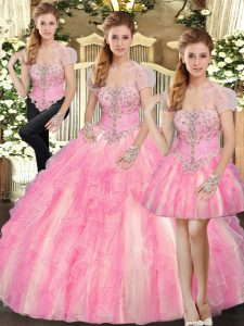 Custom Made Beading and Ruffles 15th Birthday Dress Baby Pink Lace Up Sleeveless Floor Length