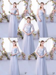 Charming Grey Dama Dress Wedding Party with Lace High-neck Cap Sleeves Lace Up