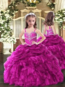 New Arrival Fuchsia Sleeveless Organza Lace Up Little Girls Pageant Dress for Party and Sweet 16 and Wedding Party