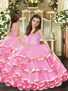 Most Popular Organza Straps Sleeveless Lace Up Beading and Ruffled Layers Pageant Dress Wholesale in Pink