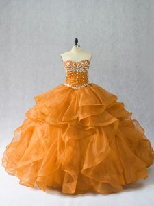 Fantastic Organza Sleeveless Floor Length 15 Quinceanera Dress and Beading and Ruffles