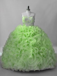 Ball Gowns Beading Vestidos de Quinceanera Lace Up Fabric With Rolling Flowers Sleeveless