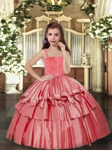 Floor Length Coral Red Girls Pageant Dresses Taffeta Sleeveless Ruffled Layers