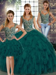 Floor Length Peacock Green 15 Quinceanera Dress Organza Sleeveless Beading and Ruffles