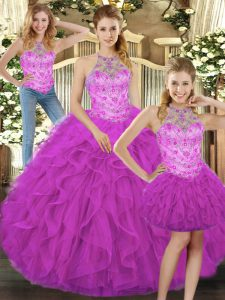 Luxury Fuchsia Tulle Lace Up Quinceanera Dresses Sleeveless Floor Length Beading and Ruffles